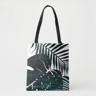 Metallic dark green tropical leaves tote bag