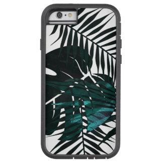 Metallic dark green tropical leaves tough xtreme iPhone 6 case