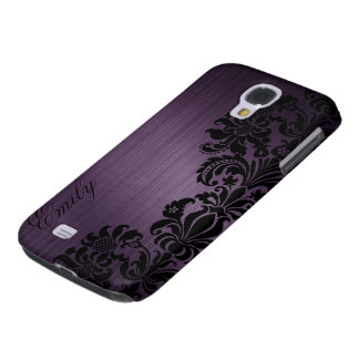 Metallic Dark Purple With Floral Black Lace