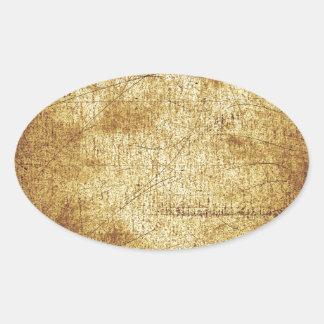 Metallic distressed cool retro brown yellow grunge oval sticker