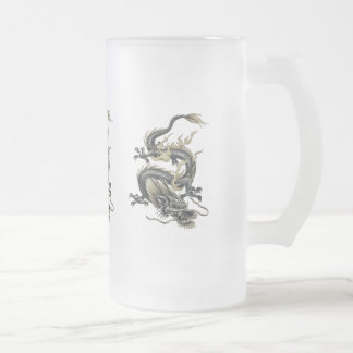 Metallic Dragon Frosted Glass Beer Mug