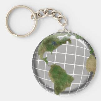 Metallic Earth Day Globe Basic Round Button Keychain