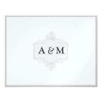 Metallic Effect Scroll Monogram Wedding Invitation