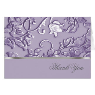 Metallic Embossed Look Damask in Lavender Card