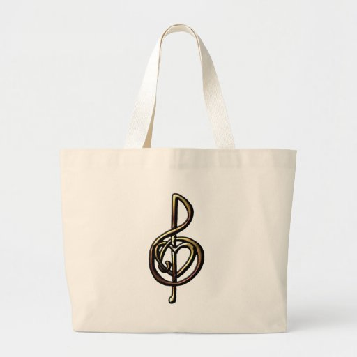 Metallic Embossed Musical Treble Clef with Heart Canvas Bags
