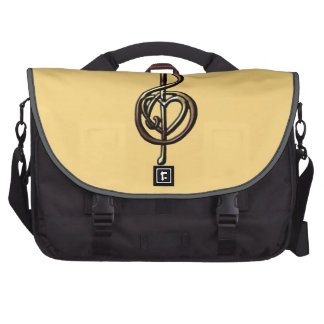 Metallic Embossed Musical Treble Clef with Heart Laptop Messenger Bag