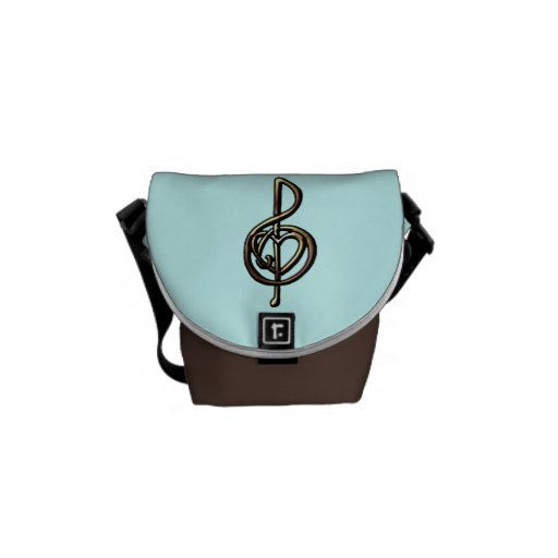 Metallic Embossed Musical Treble Clef with Heart Messenger Bag