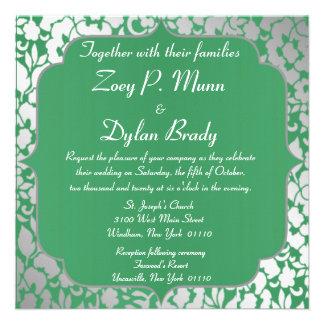 Metallic Emerald Green Wedding Invitation