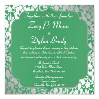 Metallic Emerald Green Wedding Invitation