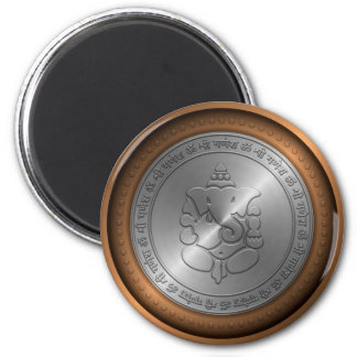 Metallic Emossed Ganesha Sign 2 Inch Round Magnet