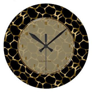 Metallic Faux Gold & Black Leopard Print Large Clock
