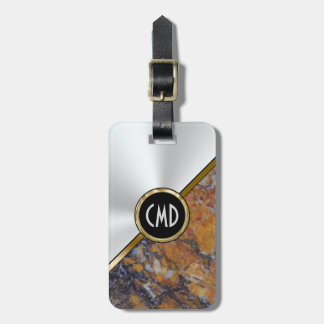 Metallic Faux Silver & Brown Faux Marble Luggage Tag