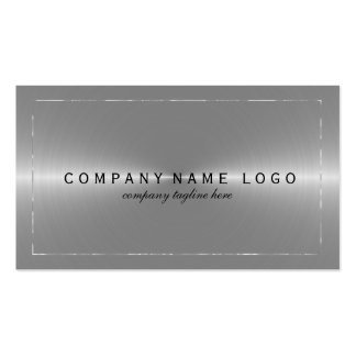 Metallic Faux Silver Gray Stainless Steel Look Pack Of Standard Business Cards