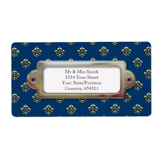 Metallic Fleur de lis (Gold) Shipping Label