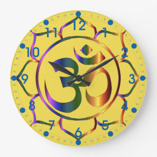 Metallic Floral Om Symbol with Blue Numbers Large Clock