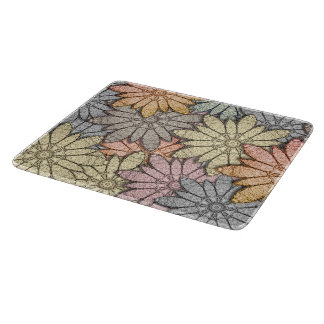 Metallic Flowers Glass Cutting Board