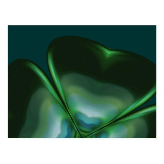 Metallic Four Leaf Clover Postcard
