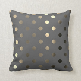 Metallic Foxier Gold Graphite Gray Polka Dots Throw Pillow