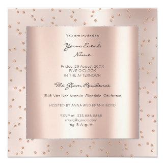Metallic Geometry Gold Pink Rose Swarovski Gems Card