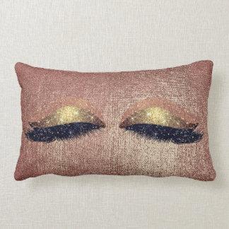 Metallic Glitter Rose Copper Eyes Makeup Lashes Lumbar Pillow