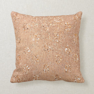 Metallic Glitter Rose Gold Makeup Sparkly Copper Throw Pillow