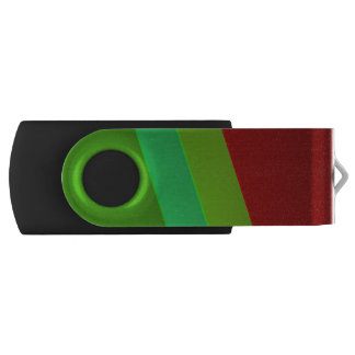 Metallic glowing green and red stripes USB flash drive