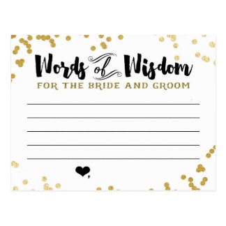 Metallic Gold Advice Card for Bride and Groom Postcard