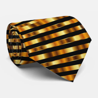 Metallic Gold and Black Stripes Tie
