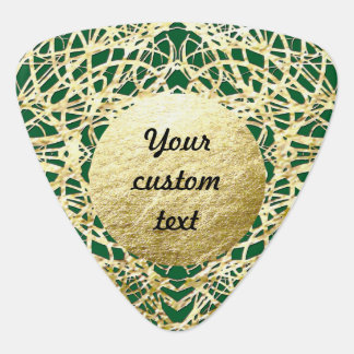 Metallic Gold and Green Filigree Circle Design Pick