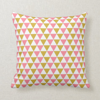 Metallic Gold and Pink Triangle Pattern Throw Pillow