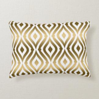 Metallic Gold And White Geometric Pattern Decorative Pillow