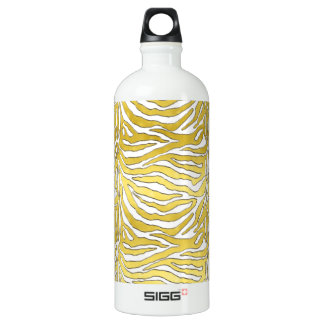 Metallic Gold and White Snow Tiger Water Bottle