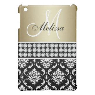 METALLIC GOLD BLACK DAMASK PATTERN MONOGRAM CASE FOR THE iPad MINI