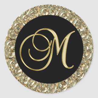 Metallic Gold Black Monogram Letter 'M' Seals