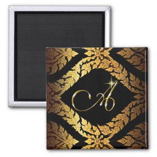 "Metallic Gold Brocade Monogram Initial ""A"" Square Magnet"
