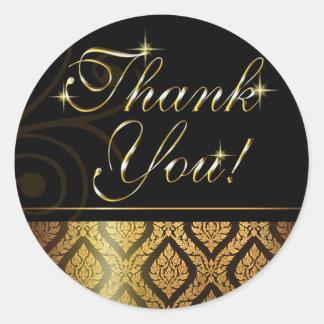 Metallic Gold Brocade Thank You Classic Round Sticker