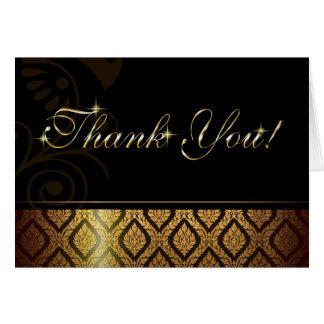 Metallic Gold Brocade Thank You Greeting Card