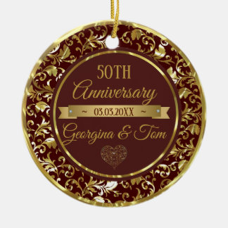 Metallic Gold Damask And Ribbon Ceramic Ornament