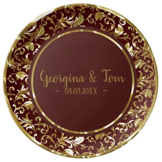 Metallic Gold Damask & Brown Circle Plate