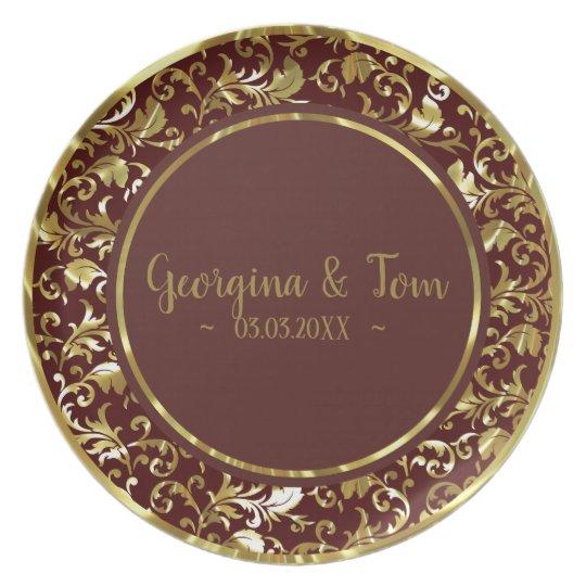 Metallic Gold Damask Brown Circle Plate