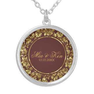 Metallic Gold Damask - Save the date Silver Plated Necklace