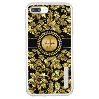 Metallic Gold Damask With Monogram Incipio DualPro Shine iPhone 8 Plus/7 Plus Case