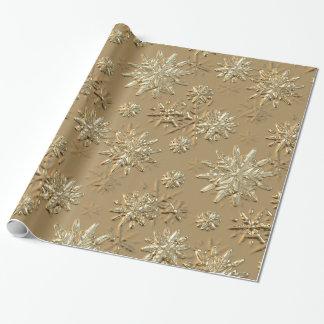Metallic Gold Effect Snowflake Wrapping Paper