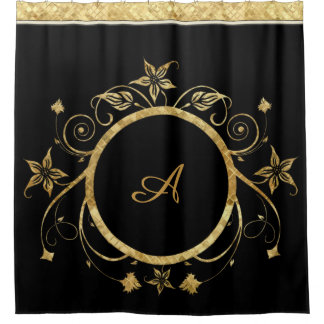 Metallic Gold Facets of Floral Circle on Black