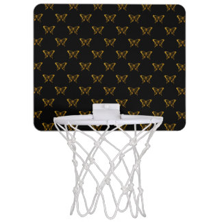 Metallic Gold Foil Butterflies on Black Mini Basketball Hoop