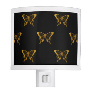 Metallic Gold Foil Butterflies on Black Night Lights