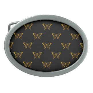 Metallic Gold Foil Butterflies on Black Oval Belt Buckles