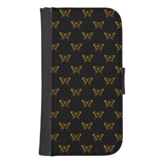 Metallic Gold Foil Butterflies on Black Samsung S4 Wallet Case