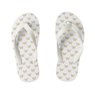 Metallic Gold Foil Butterflies on White Kid's Flip Flops