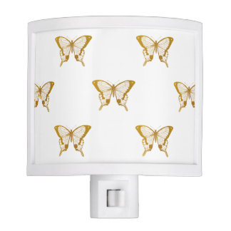 Metallic Gold Foil Butterflies on White Nite Lite